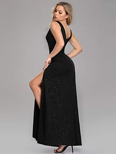 Élastique pretty 07415 Ever Femme Soirée De Noir A Fendue Brillant Longue Robe Line YwwUdqP