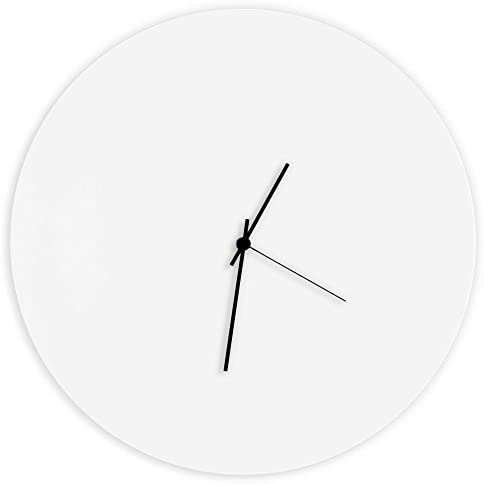 Minimalist White Clock Whiteout Black Circle Clock Contemporary Metal Wall Clocks, Monochrome Modern Decor – 16in. White w Black Hands