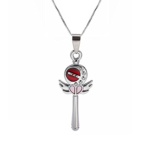 Pendant Crystal Wand (Sailor Moon Angel Wing Stick Magic Wand Crystal Key Pendant Necklace Childhood Anime Card Love Heart Cosplay Jewelry Accessories (Red))