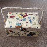 Cream Needlework Design Fabric Sewing Box 27.5x17x15cm XYSB Cream 3