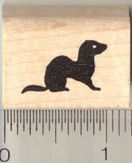 Tiny Ferret Silhouette Rubber Stamp