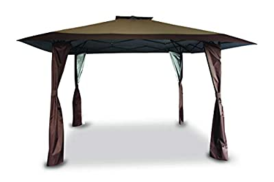 PHI VILLA 13' x 13' Straight Leg Pop-up Canopy Gazebo for Backyard, Party, Event, 169 Sq. Ft of Shade, Brown