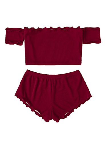 Romwe Women's Off The Shoulder Lettuce Edge Crop Top with Shorts Ribbed Romper and Jumpsuit Burgundy M ()