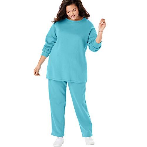 (Woman Within Women's Plus Size Fleece Sweatsuit - Soft Turquoise, L)