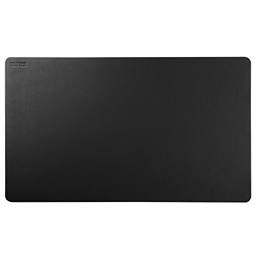 Black Leather Desk Pad Sundaylo PU Leather Desk Mouse Mat Blotters Organizer for Gaming, Writing, Working (24