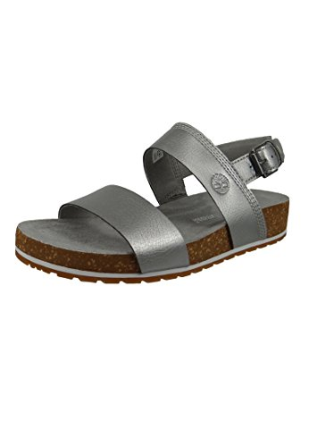 Timberland Women's Malibu Waves 2-Band Slide Mules, White Silver