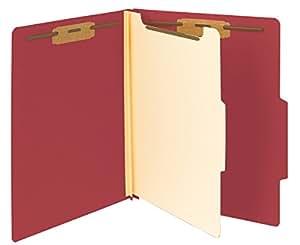 "Smead Classification File Folder, 1 Divider, 2"" Expansion, Letter Size, Red, 10 per Box (13703)"