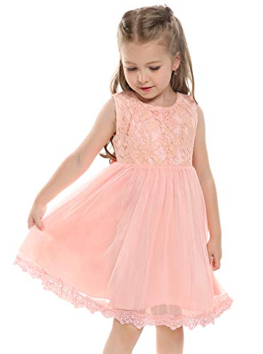- Arshiner Baby Girls Tulle Flower Lace Princess Dress First Communion Dress, Pink, 120(Age for 6-7Y)