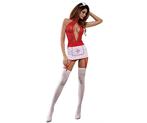 Zanyware Womens Sexy Valentine Nurse One Piece Costume Outfit Set with Headpiece and Stocking