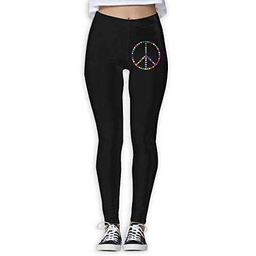 NO2XG Colorful Peace Sign Love Women's Full-Length Yoga Leggings Sports Yoga Sleep Pants by NO2XG