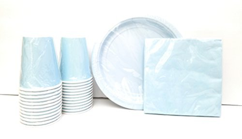 - Party Supplies Set for 20 guests! Includes: 20 Paper Plates, 20 Napkins & 24 Cups. (Light Blue)