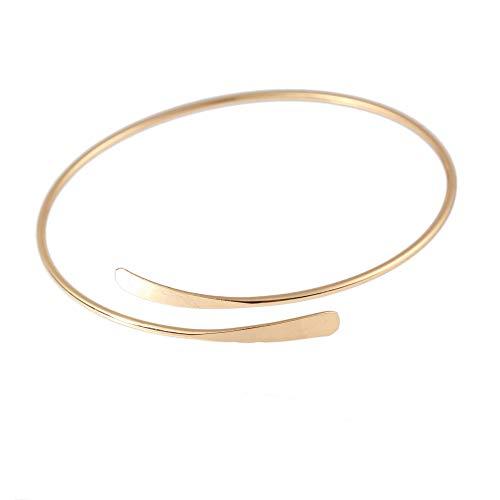 La Espoir Minimalist Gold Metal Coil Upper Arm Cuff Open Arm Bracelet Armlet Armband Bangle for Women - Armband Coil