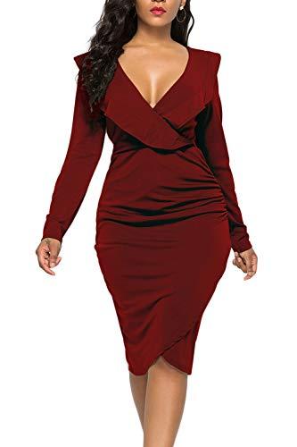 WIWIQS Women's Sexy V Neck Bodycon Long Sleeve Ruffle Dress Front Slit Bandage Midi Club Dresses,Wine Red Long - Matte Front Jersey Dress