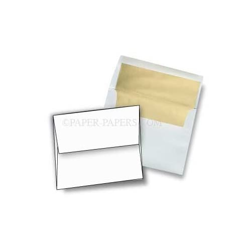 A9 FOIL LINED Envelopes - Ultra White 32T Envelopes with Gold Foil Lining - 25 PK supplier