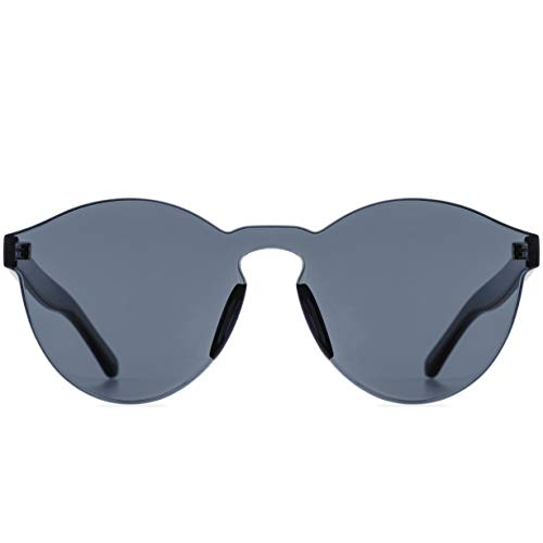 One Piece Rimless Sunglasses Transparent Candy Color Tinted Eyewear (Black) -