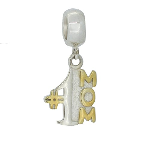 Everbling Number #1 Mom Dangle 925 Sterling Silver Bead Fits European Charm Bracelet