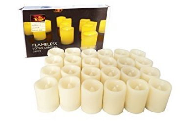 Electronic Candle Flameless Yellow Flickering Bulb LED Candles Pack of 24 Long Lasting Battery Operated Electric Votive Candle