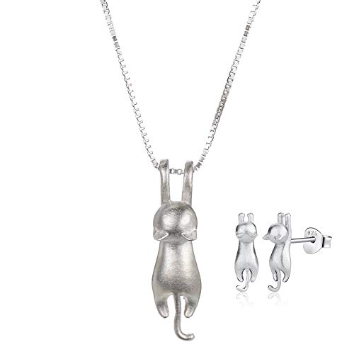 WRISTCHIE Jewelry S925 Sterling Silver Cat On Moon Pendant Necklace 18