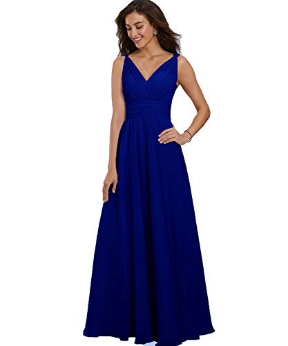 - Yilis Women's Spaghetti Straps A Line Chiffon Bridesmaid Dress Long Double V Neck Ruched Formal Evening Prom Gown Royal Blue US2