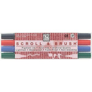- ZIG Memory System Scroll & Brush Marker Set Of 4