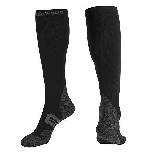 Men's 1 Pairs Black Odor Free Deodorant Quick-Dry Compression Socks Graduated Stocking, L