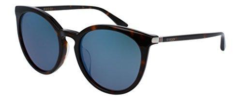Gucci GG 0064SK 003 Havana Plastic Round Sunglasses Blue Mirror - Gucci Round Frame Sunglasses Acetate