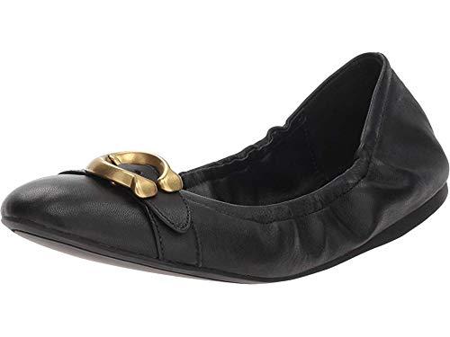 Black Signature Ballet Flats Shoes - Coach Women's Stanton Ballet with Signature Buckle Black Leather 9.5 M US