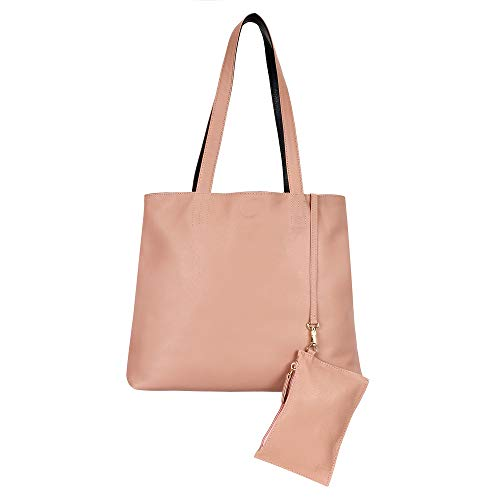 Tribe Reversible Tote Handbag - Dusty Rose Pink/Black Purse, Top Handle Bag