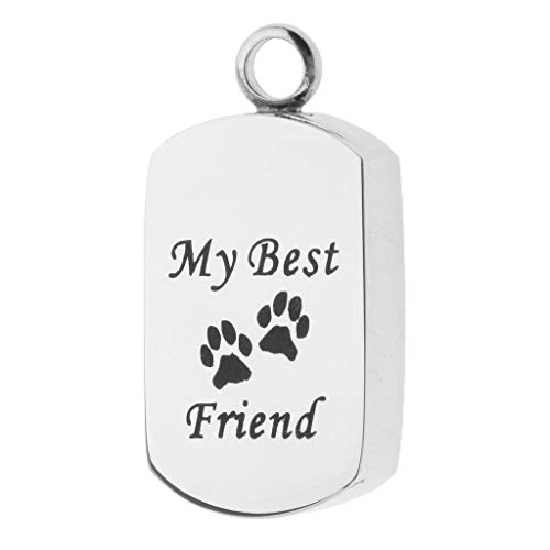 (Premium Stainless Steel My Best Friend Dog Paw Pendant Cremation DIY Pendant)