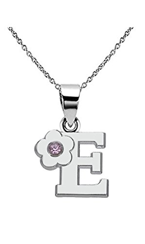 Kebaner Women Letter Initial Alphabet E Pink Crystal Flower Script Word Fashion Pendant Necklace -