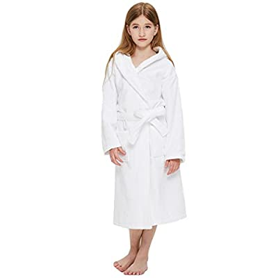 Boys Girls Solid Hooded Bamboo Cotton Sleep Robe Bathrobe (2 Toddler-14 Years) Variety of Colors