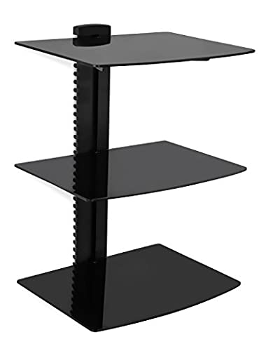 Mount-It! MI-893 Floating Wall Mounted Shelf Bracket Stand for AV Receiver, Component, Cable Box, Playstation4, Xbox1, DVD Player, Projector, 53 Lbs Capacity, 3 Shelves, Tinted Tempered Glass