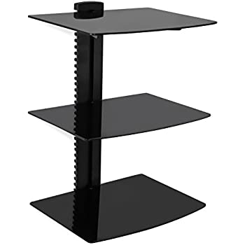 mountit mi893 floating wall mounted shelf bracket stand for av receiver component cable box xbox1 dvd player projector
