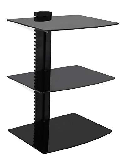 ating Wall Mounted Shelf Bracket Stand for AV Receiver, Component, Cable Box, Playstation4, Xbox1, DVD Player, Projector, 53 Lbs Capacity, 3 Shelves, Tinted Tempered Glass (Wall Mounted Audio)