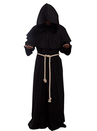 [Friar Medieval Hooded Monk Renaissance Priest Robe Costume Cosplay black S] (Monks Costumes)