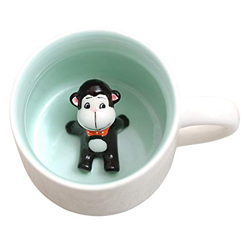 Birthday Monkey Gift - 3D Cute Animal Coffee Mug, Miniature Animal Figurine Coffee Cup, Monkey Inside, 400ml Funny Coffee Mug Novelty Gift for Office Birthday Men Women