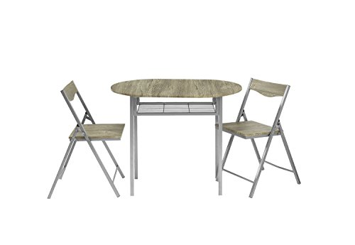 Abington Lane Drop Leaf Dining Table Set with 2 Chairs - Folding dining table for easy storage with 2 chairs Drop leaf table leaflets for expandable table space Storage underneath foldable table for 2 chairs - kitchen-dining-room-furniture, kitchen-dining-room, dining-sets - 3114pto0FtL -