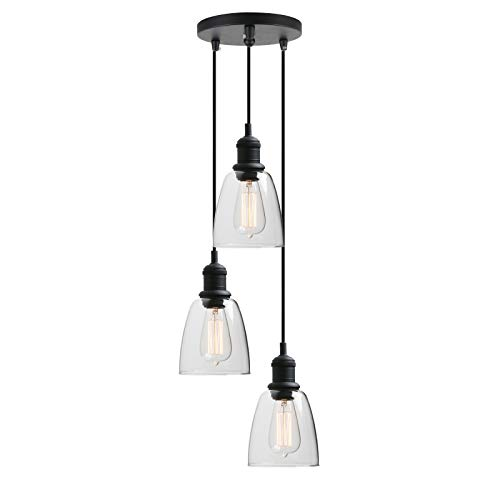 3-Light Vintage Industrial Pendant Lamp, Yosoan Kitchen Island Hanging Light Fixture with Oval Cone Clear Glass Shade (Black)