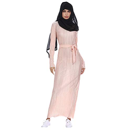 Euone Dress Clearance, Muslim Summer Sexy Slim Pleated Striped Trumpet Sleeves Hip Dress ()