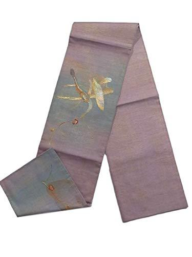 待つ寂しいスラックリサイクル 袋帯 紬 刺繍 金彩 植物文 お太鼓柄