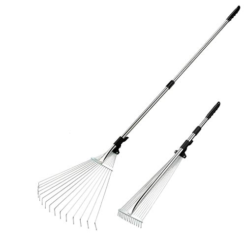 (Docamor 63 Inch Adjustable Garden Leaf Rake 15 Tooth, Lawn Rake with Rounded Tips, PVC Lever Lock and Grip, Stainless Steel Handle, Expandable Steel Head (7.5 to 23.2 inch))