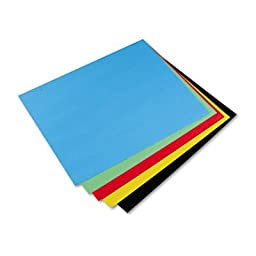 Pacon Colored 4-Ply Poster Board, 28 x 22, Black/Green/Yellow/Red/Blue, 25/Carton, CT - PAC54871