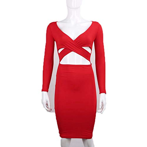- Molif Long Sleeve Bodycon Midi Bandage Dress Women Cotton Elastic Elegant Sexy Dresses Winter Dress red XL