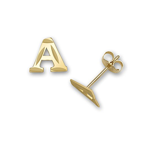 Solid 14k Yellow Gold Small Sparkle-cut A-Z Initial Stud Earrings (Initial: A) ()