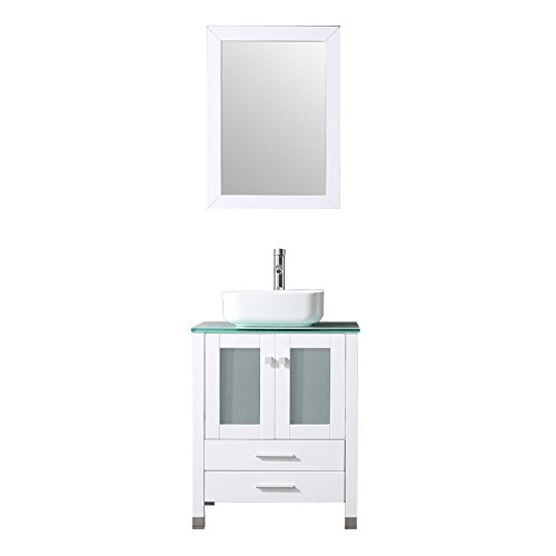 BATHJOY 24 Inches Bathroom Vanity Set Wood Cabinet Top Square Ceramic Vessel Sink Faucet Combo with Mirrors