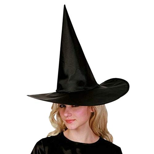 WYKDA Hats Brand Fashion Adult Womens Black Witch Hat for Halloween Costume Accessory Black Cap