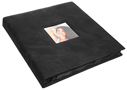 Red Co. Black Faux Leather Family Photo Album with Front Cover Window Frame - Holds 600 4x6 Photographs ()