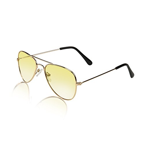 Kids Glasses Gold Metal Frame Police Pilot Vintage Best Childrens Sunnies Yellow