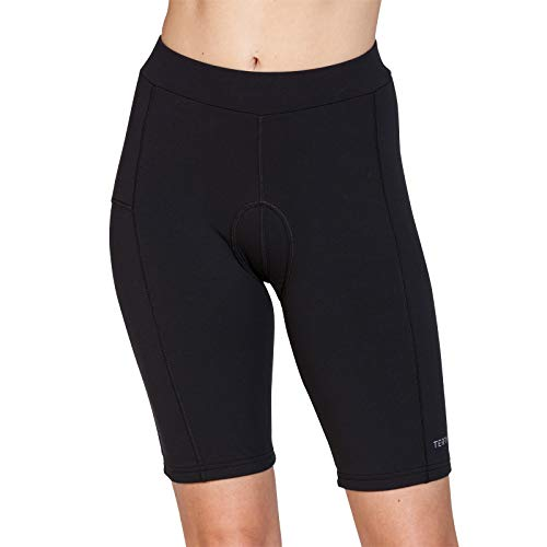 (Terry Club Short Long 9 Inch Inseam Padded Bike Shorts Women's Specific Spin Indoor Cycling Short - Black - Medium)