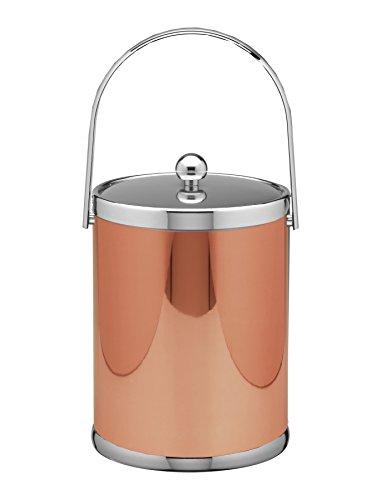 Kraftware Mylar Ii Collection Ice Bucket Metal Cover, 5 quart, (5 Quart Metal Ice Bucket)